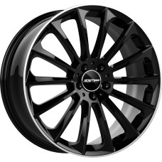 STELLAR 18x8.0 5x112 ET35 GLOSS BLACK POLISHED LIP